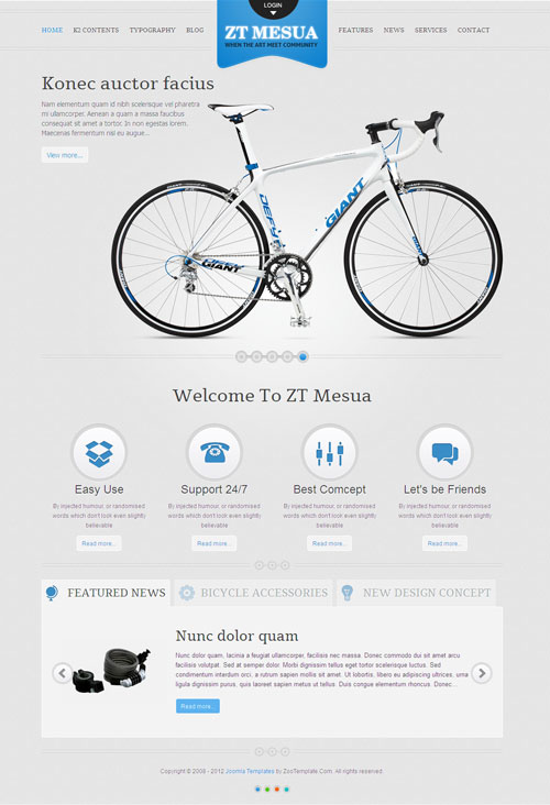 ZT Mesua Joomla Bicycle Template for Showcase Accessories & Parts