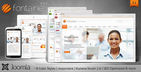 Fontaine a clean responsive joomla template kunena 20 forum theme friedricerecipe Choice Image