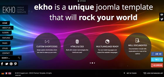 EKHO Joomla Fullscreen Portfolio Template