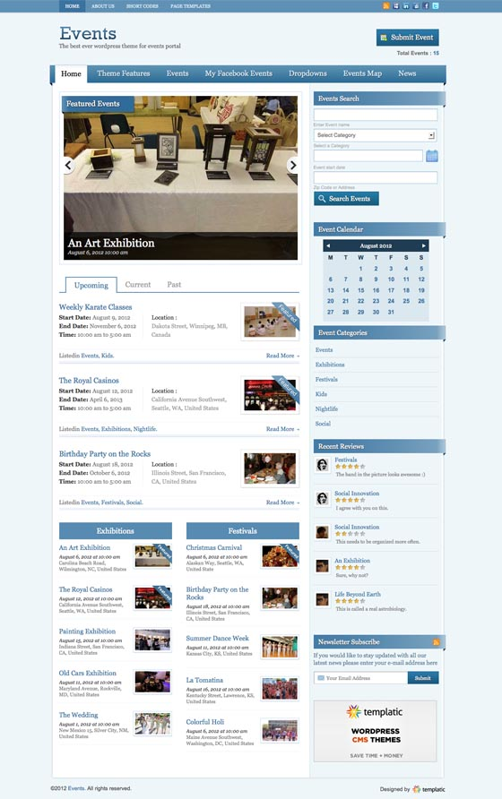 Events V2 WordPress Theme for Submit Event Portal & Event Calendar!