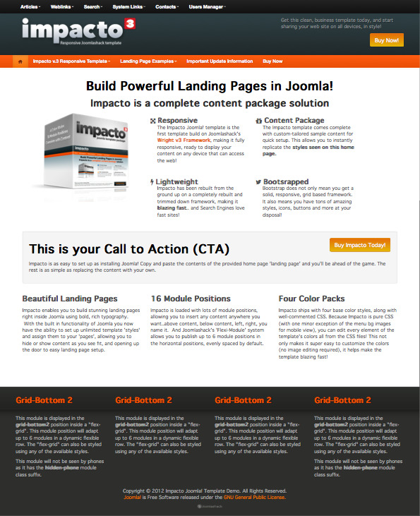 Impacto v.3 Joomla Landing Page Template