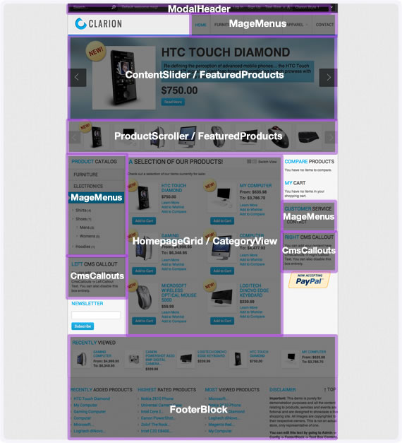 Clarion Magento Theme RokMage Layout