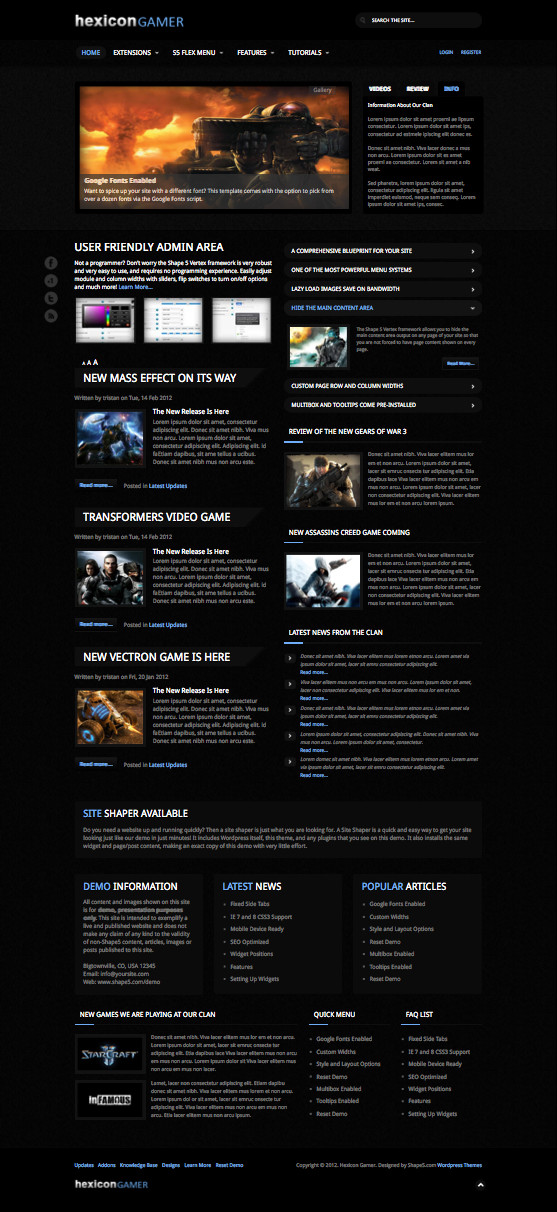 Hexicon Gamer Responsive WordPress Theme