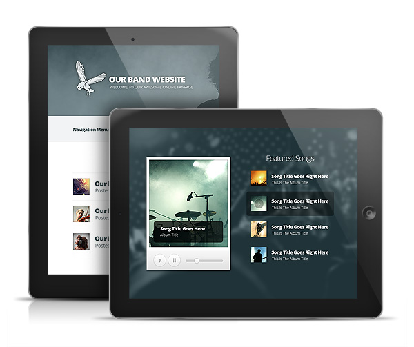 Harmony band wordpress musicians theme ecommerce for Ipad o android