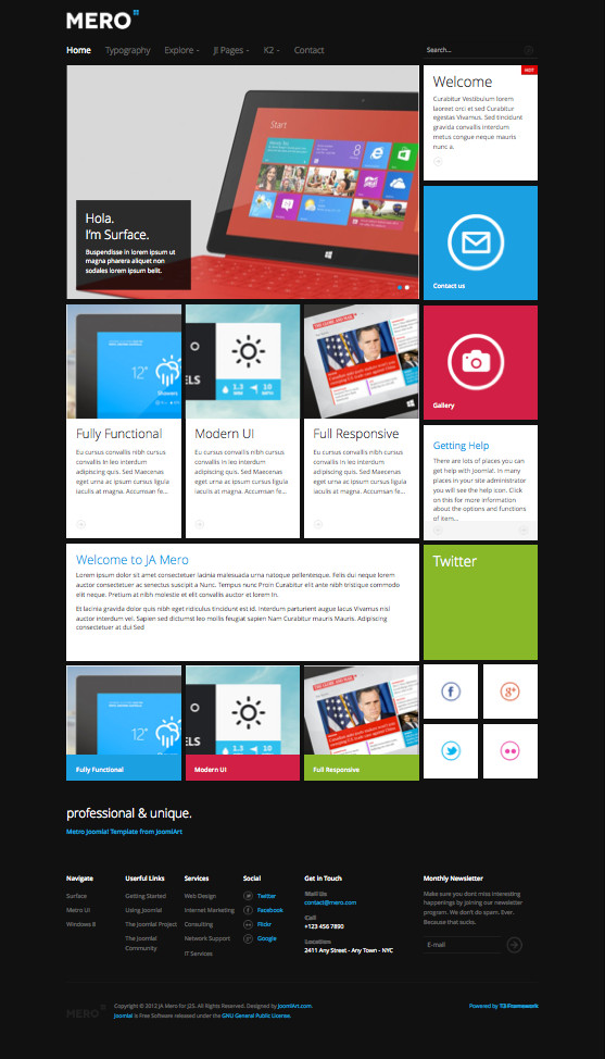 Ja mero responsive joomla template for business portfolios for Joomla backend templates