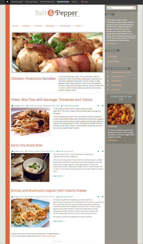 Salt & Pepper Restaurants Joomla Template