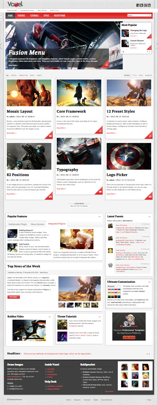 Voxel WordPress Magazine Mosaic Layout Theme