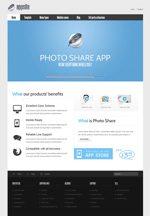 AppSite Joomla 2.5 Business Apps Template