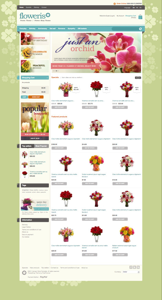 Floweris PrestaShop Flowers Gift Shop Theme