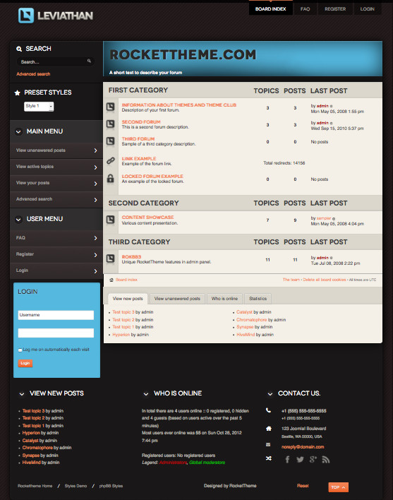 Leviathan Responsive phpBB Style Theme