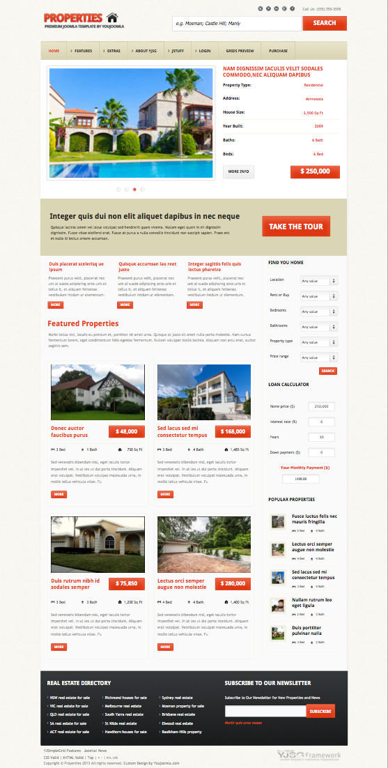 Properties Responsive Joomla Real Estate Template