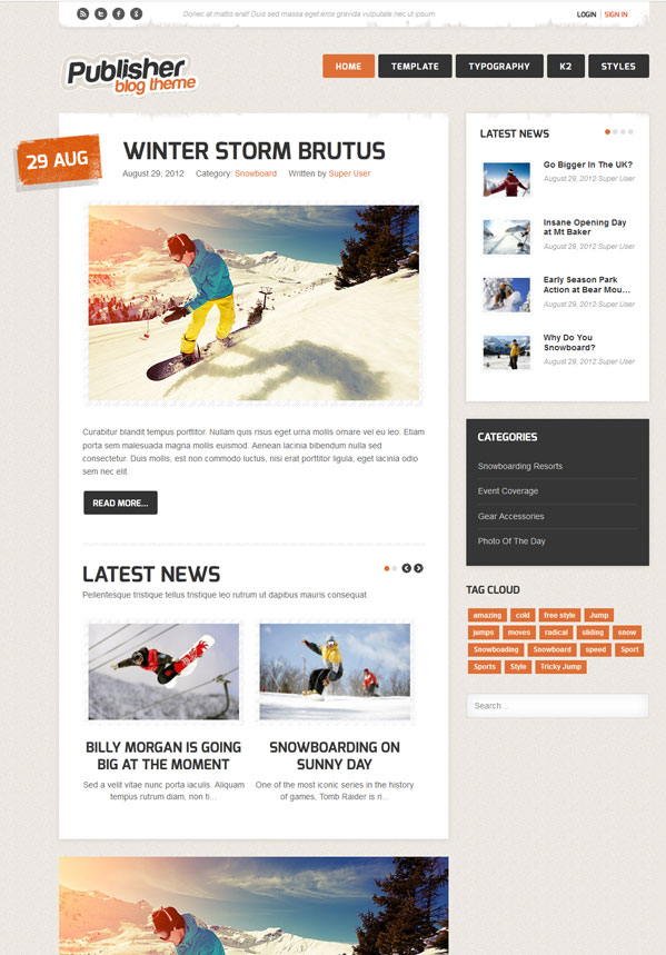 Publisher Joomla 2.5 Blog Template