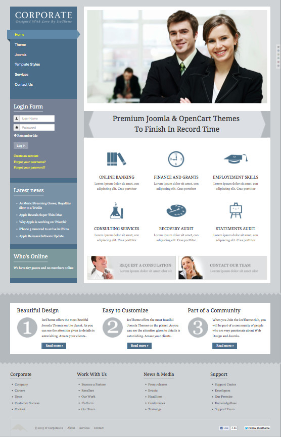 It corporate 2 responsive joomla 25 30 template for businesses it corporate 2 responsive joomla business template wajeb Images