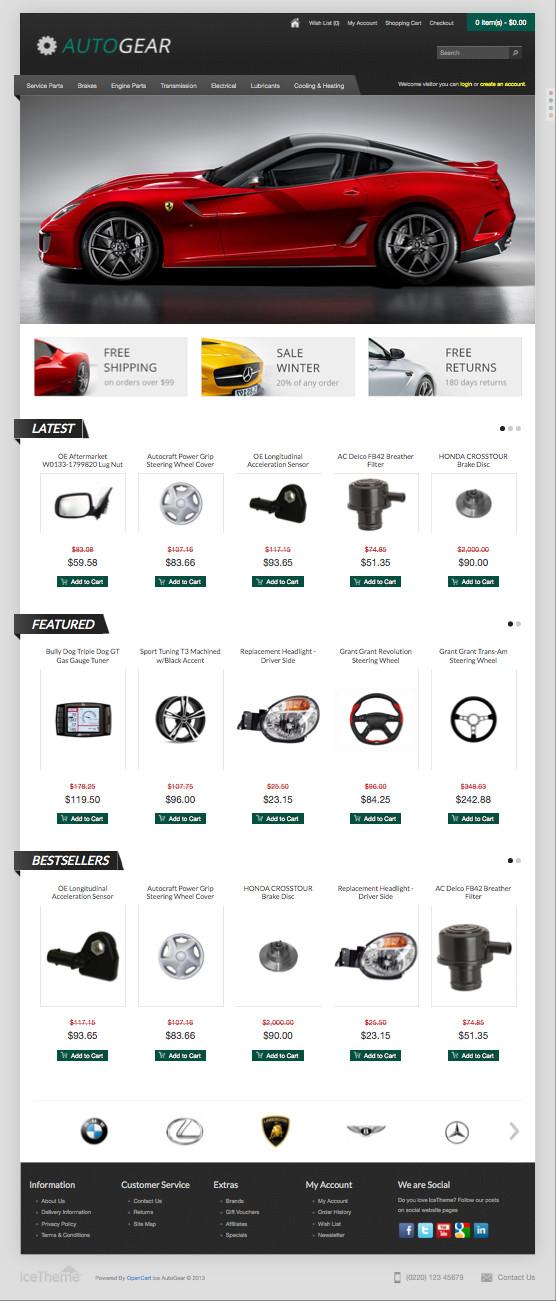Ice AutoGear OpenCart Car Accessories Theme