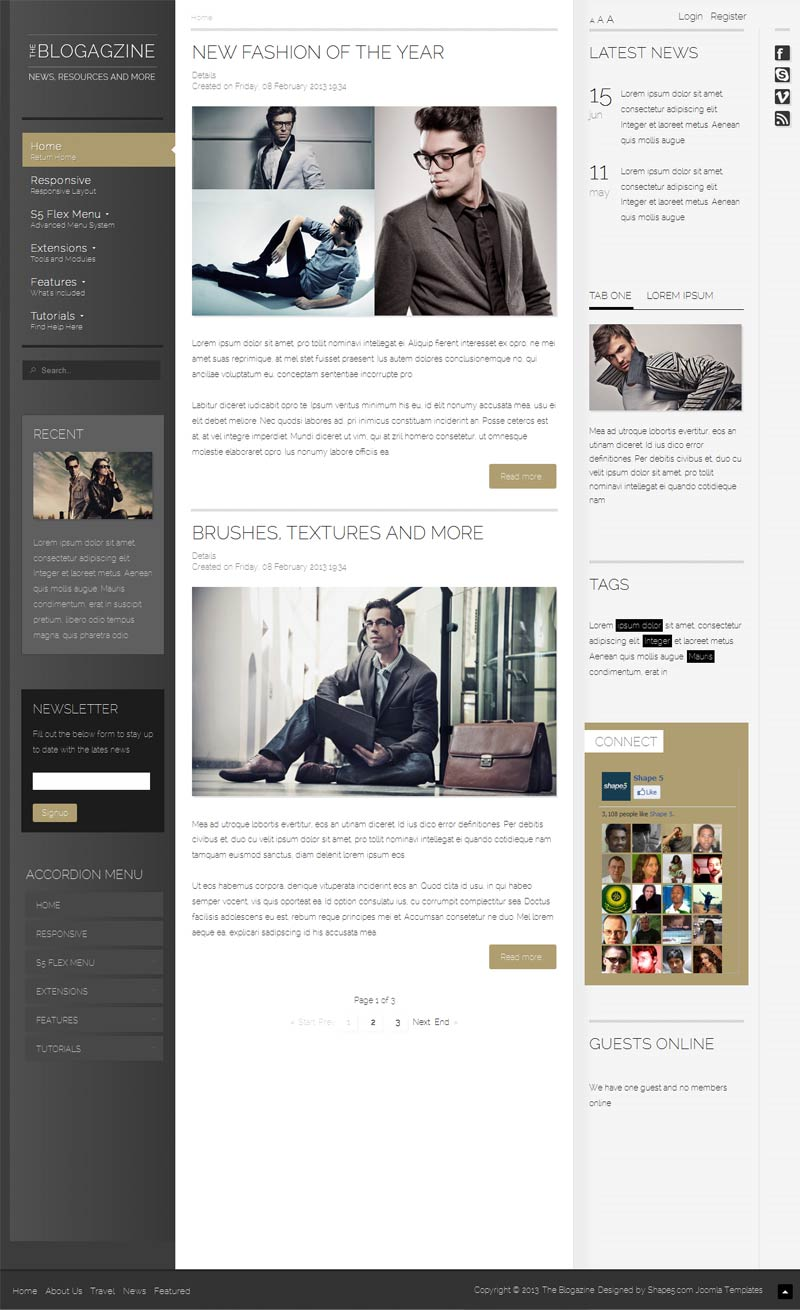 The Blogazine Responsive Joomla Magazine Template