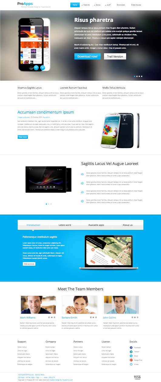 ProApps Responsive Joomla Software Presentation Template