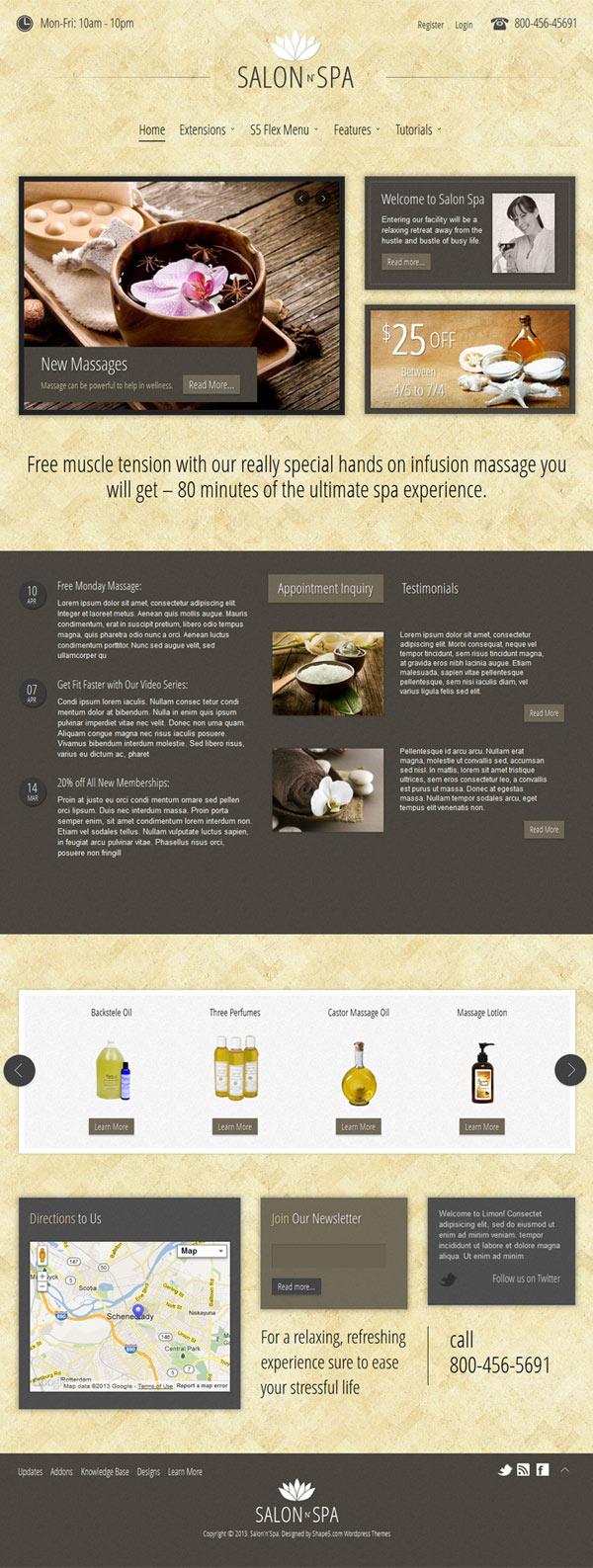 Salon n Spa WordPress Massage Business Theme