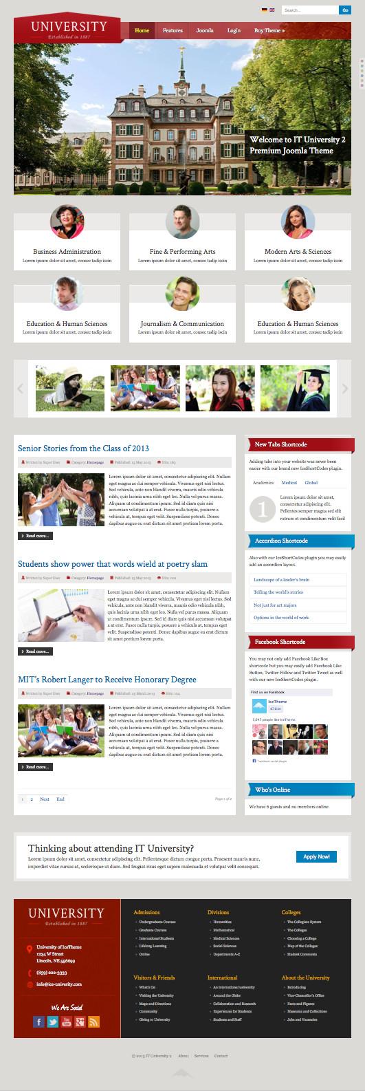 IT University 2 Joomla School Activities Template