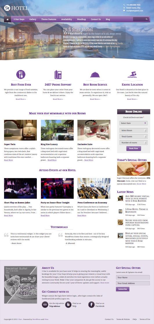 5 Star WordPress Hotel Booking & Management Theme