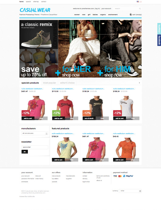 CasualWear PrestaShop Fashion Clothing Store Theme