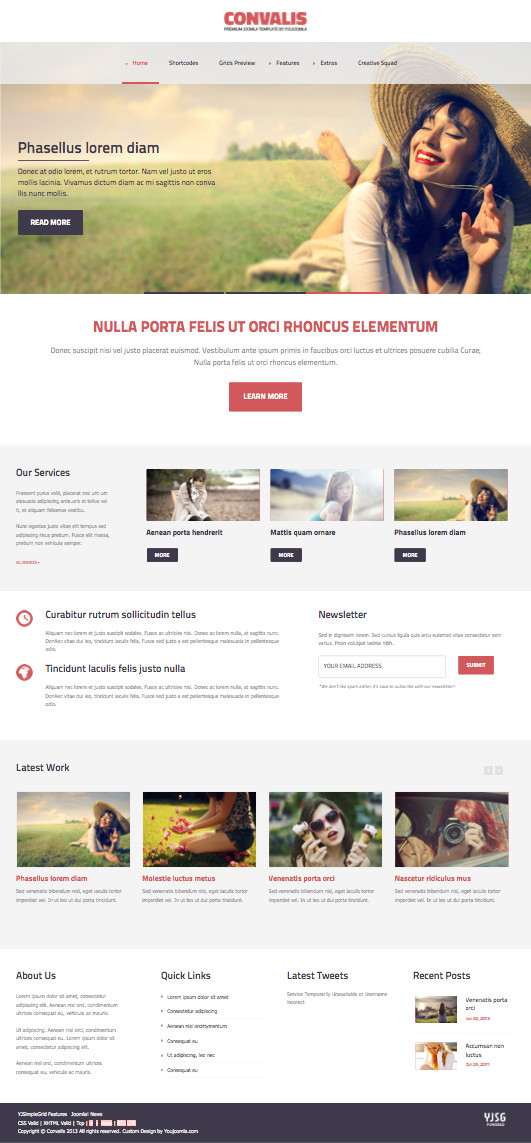 Convalis Joomla Template for Image Gallery Homepage Layout