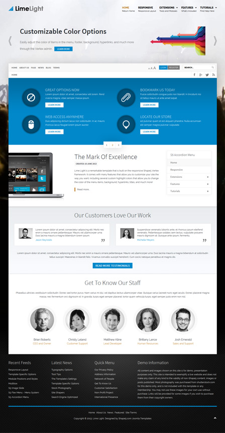 Lime Light Joomla Business Product Related Template