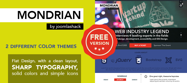 Mondrian Free Joomla Wright Framework Template