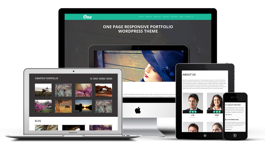 OnePager WordPress One Page responsive Portfolio Template