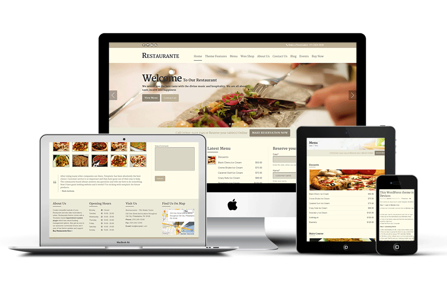 Responsive Restaurante WordPress Online Reservations Theme