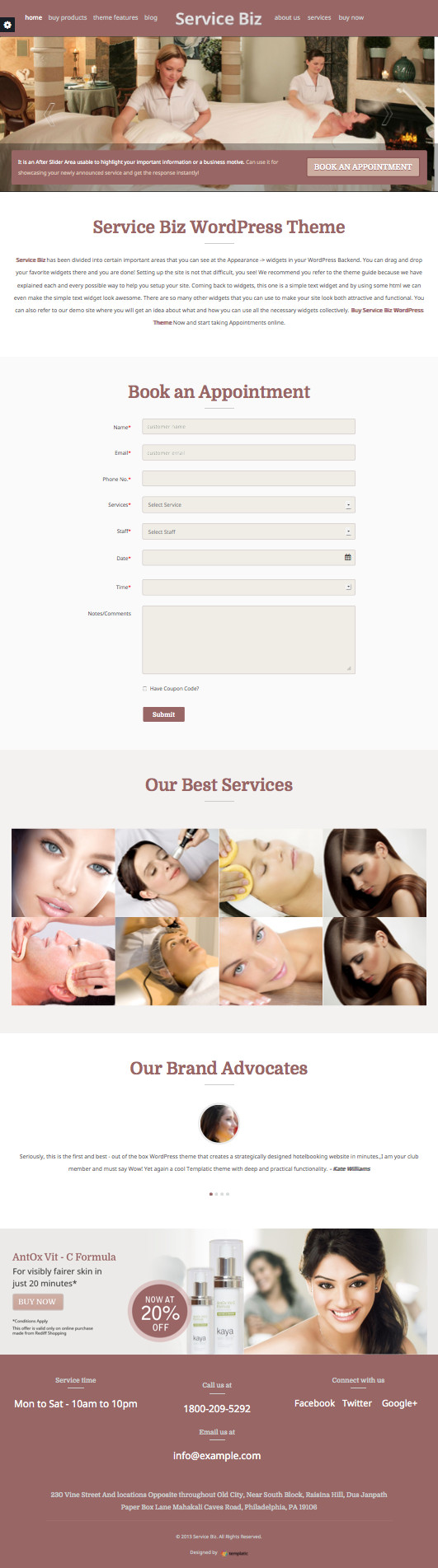Service Biz WordPress Online Appointment Booking Theme