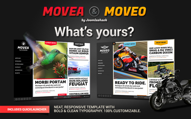 Moveo & Movea Joomla Dual Personality Theme