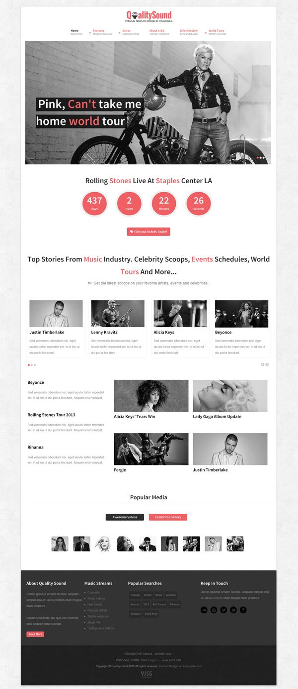 QualitySound Responsive Joomla Music Entertainments Template