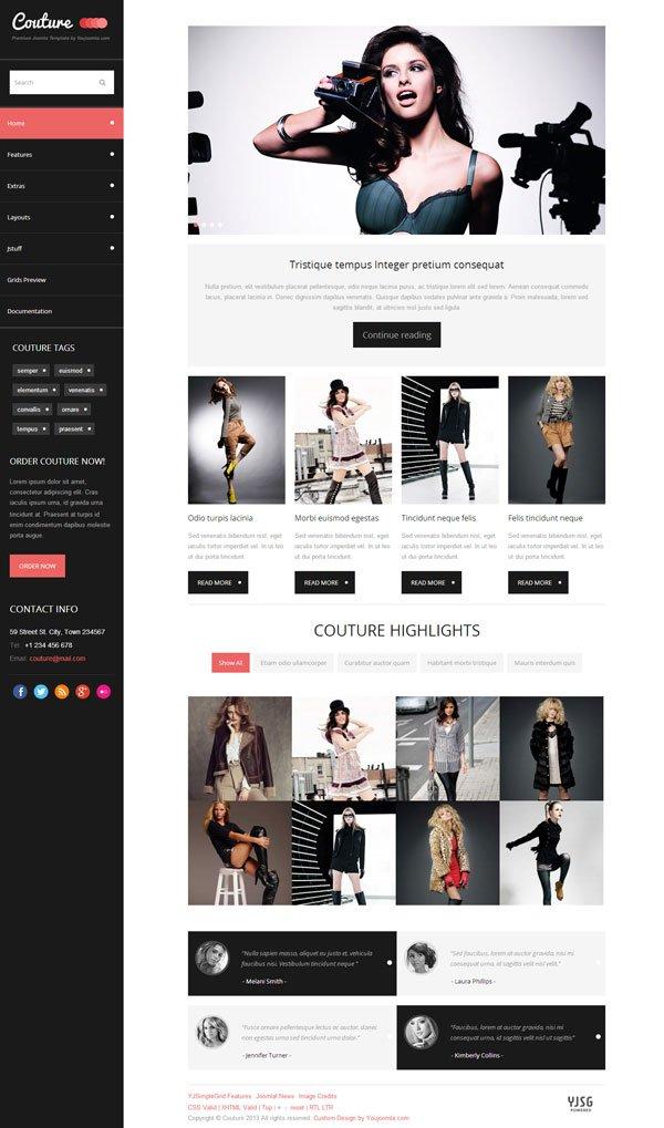 Couture Joomla Fashion Magazine Template