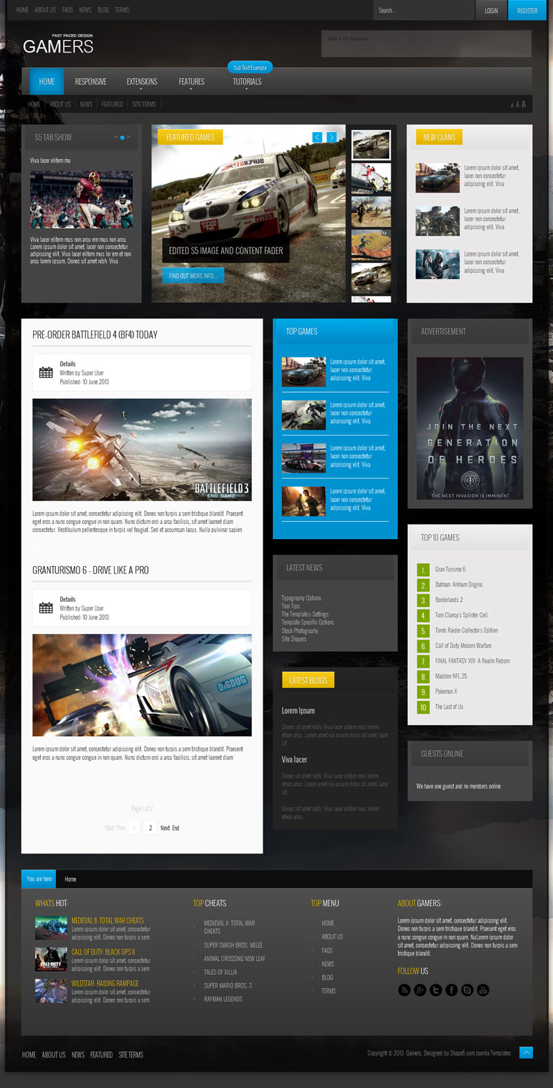 Games Template Joomla Joomla Gaming Template