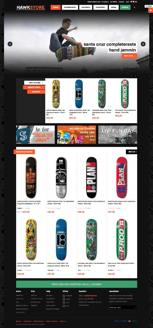JM Hawkstore Magento Skateboard Shop Theme