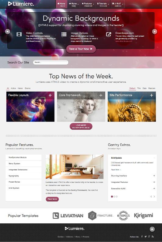 Lumiere Joomla HTML5 Video Template