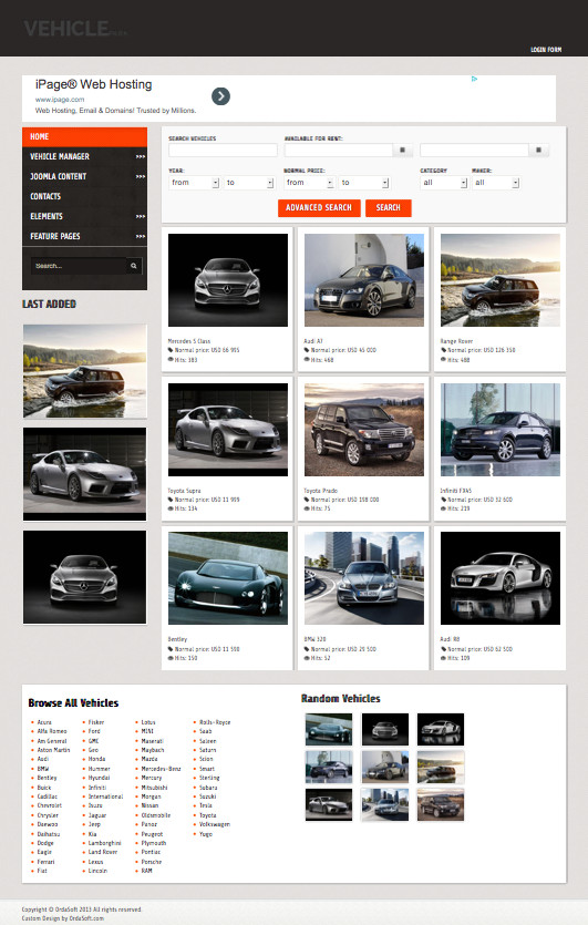 OS Vehicle Park Joomla Car Dealers Template