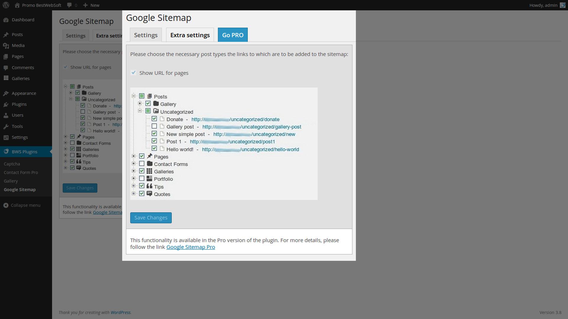 Google Sitemap Extra Settings