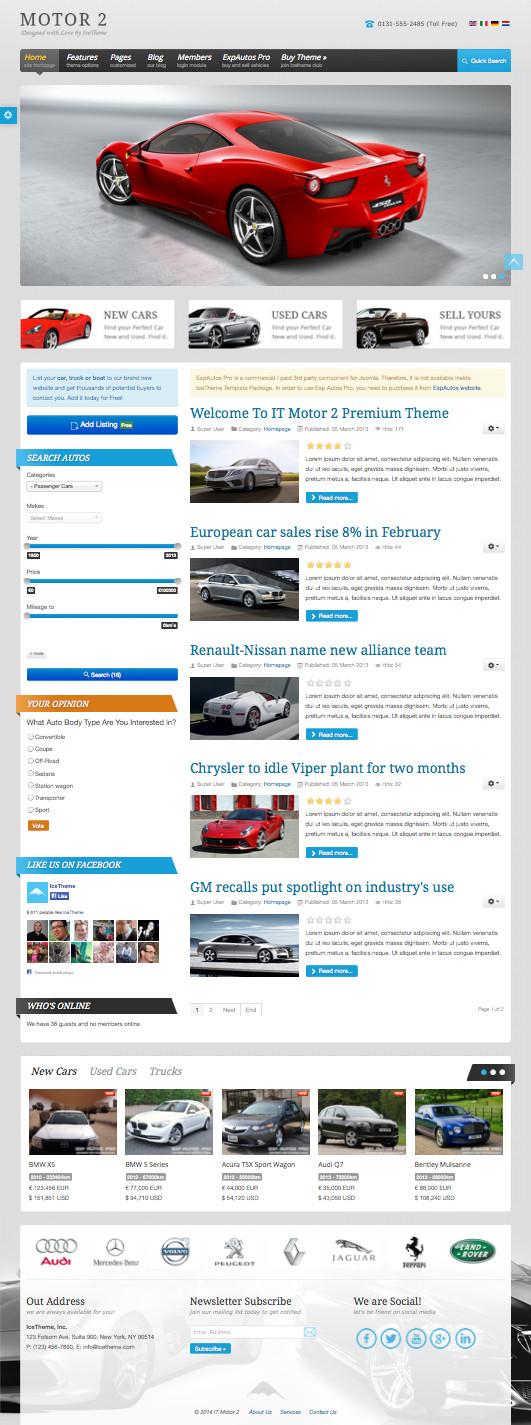 IT Motor 2 Joomla Automotive Showcase Template