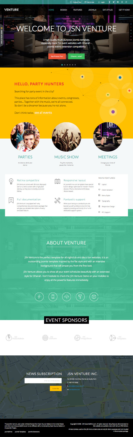 JSN Venture Pro Free Joomla Events Solution Template