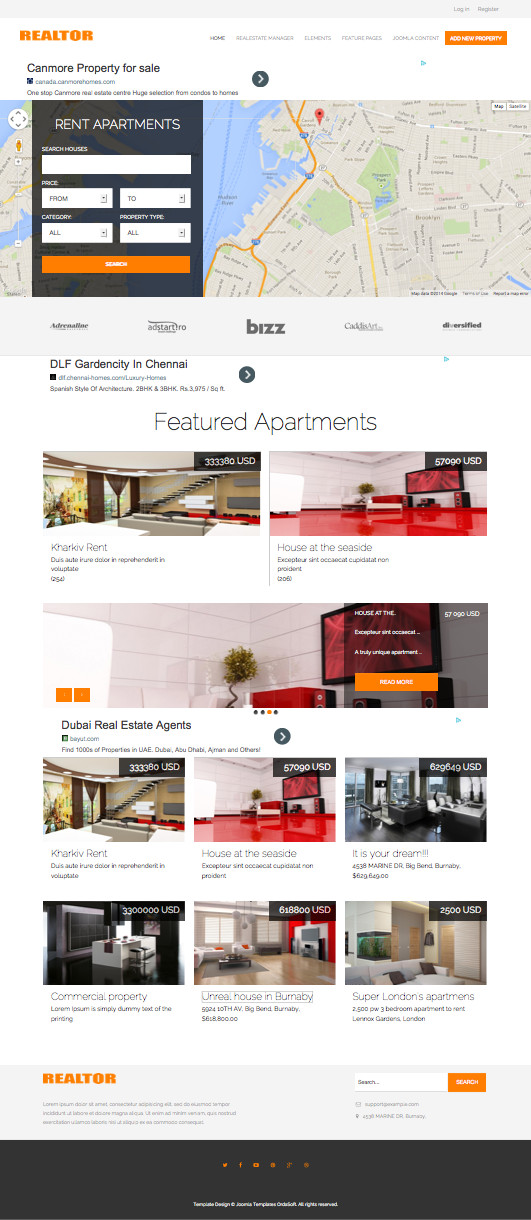Os realtor responsive joomla real estate dealer template for Joomla backend templates