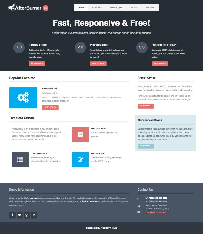 Afterburner2 Free Responsive Joomla Template