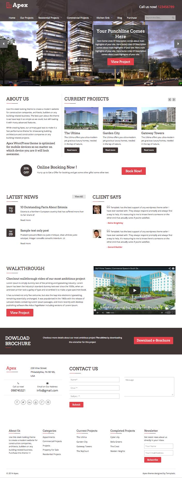 Apex Construction WordPress theme