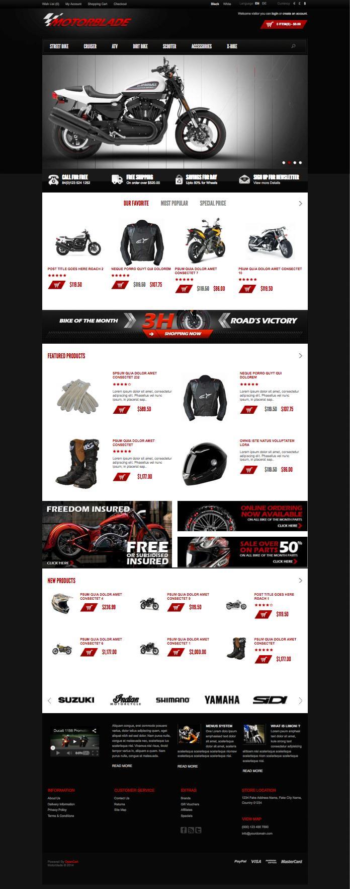 Motorblade Motorbike Accessories OpenCart Theme
