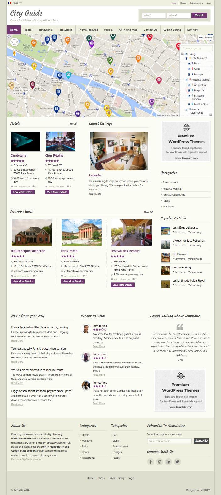 City Guide Responsive WordPress Theme
