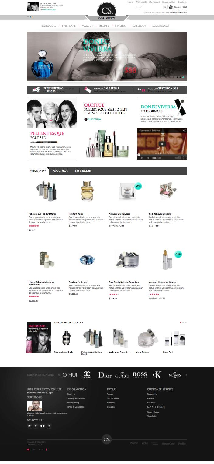 Cosmetic opencart theme for selling beauty products for Opencart template builder