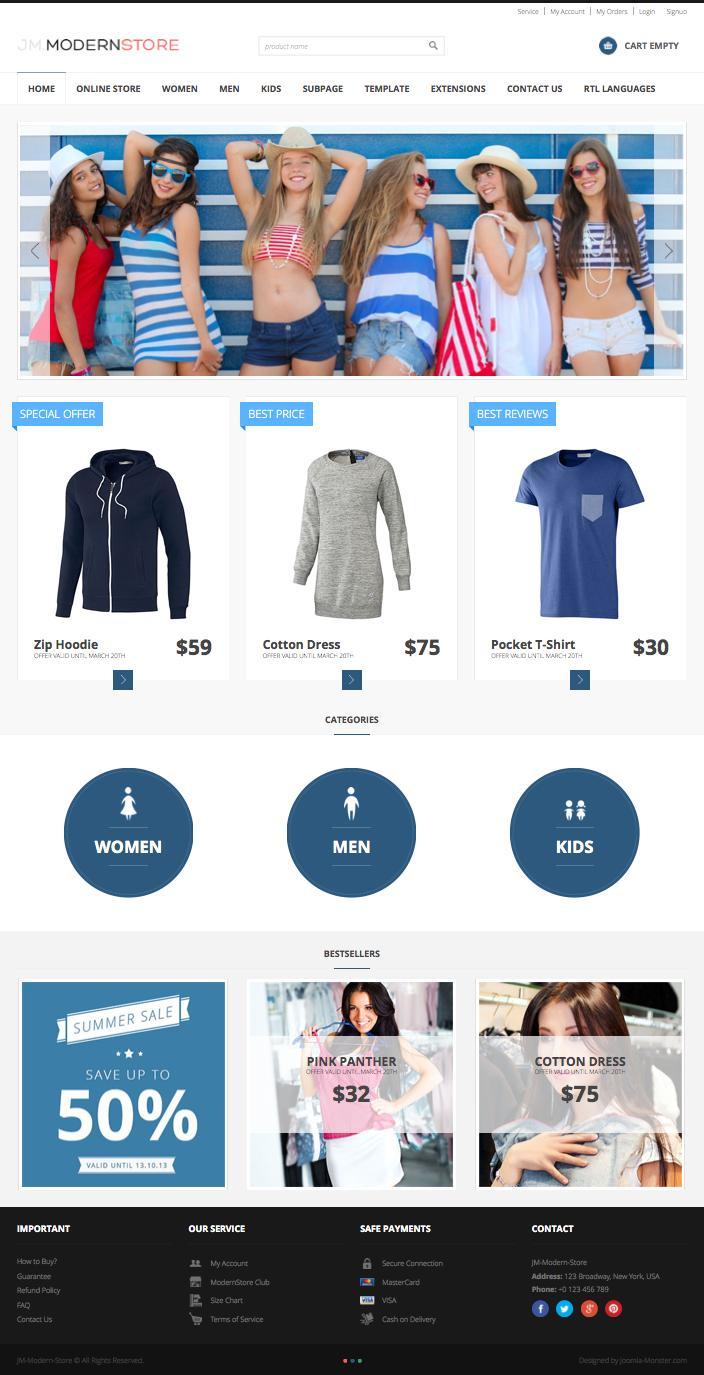 JM Modern Store Joomla eCommerce Store Template