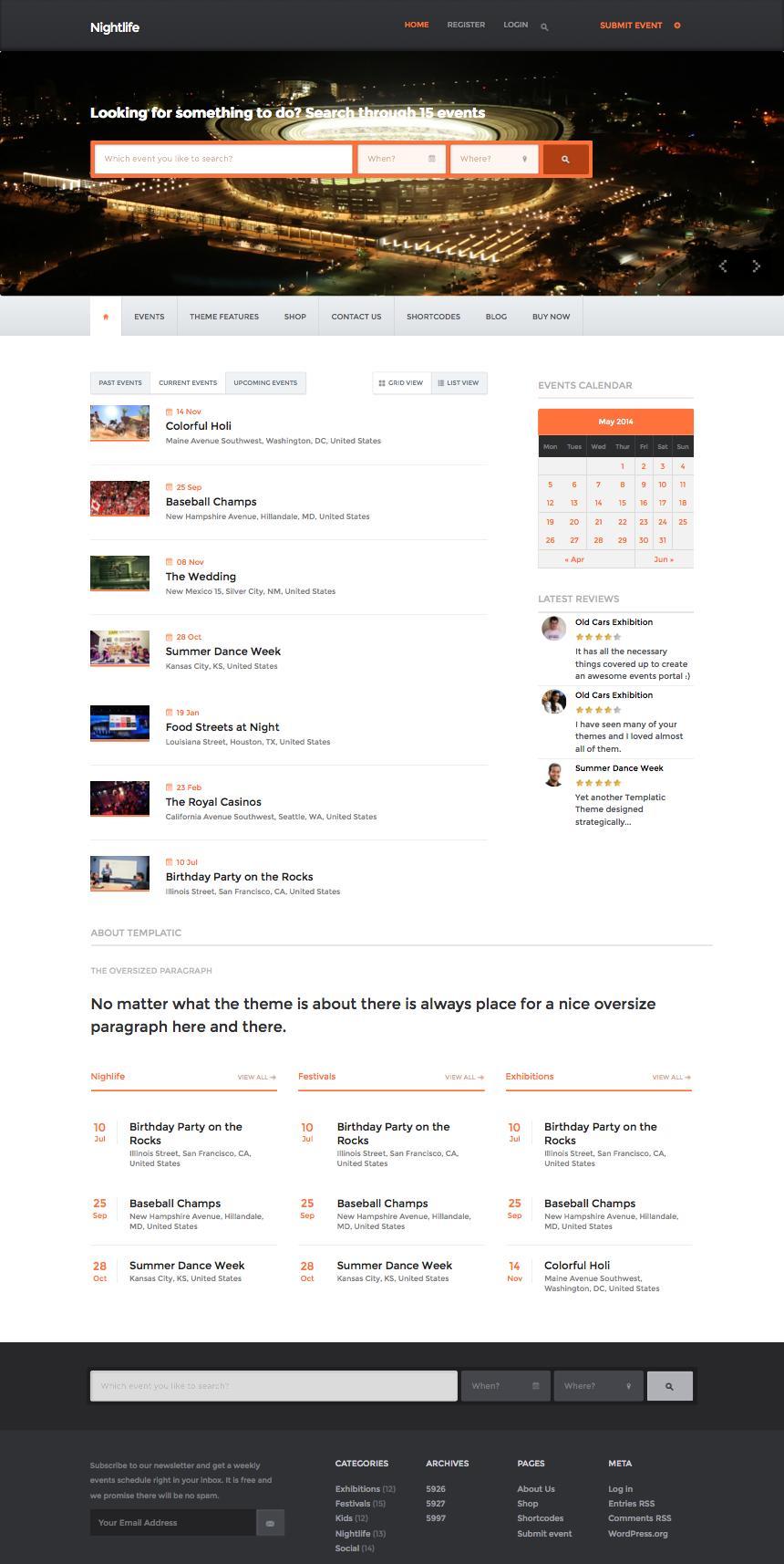 Nightlife WordPress Local Events Directory Theme