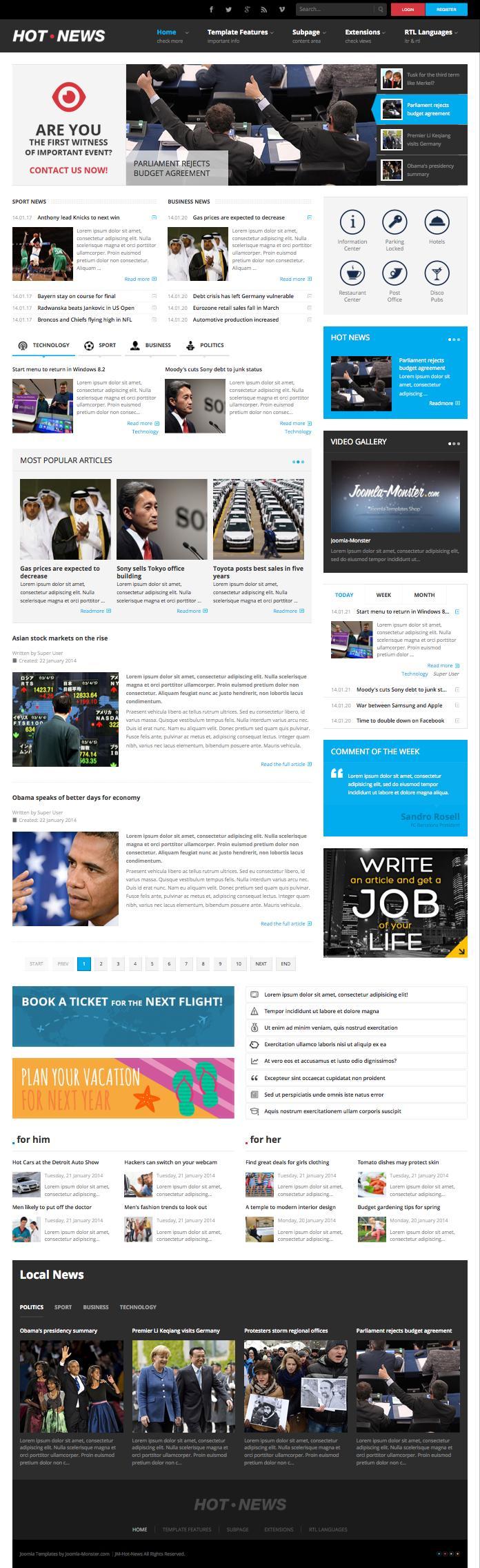 JM Hot News Joomla Magazine Style Template