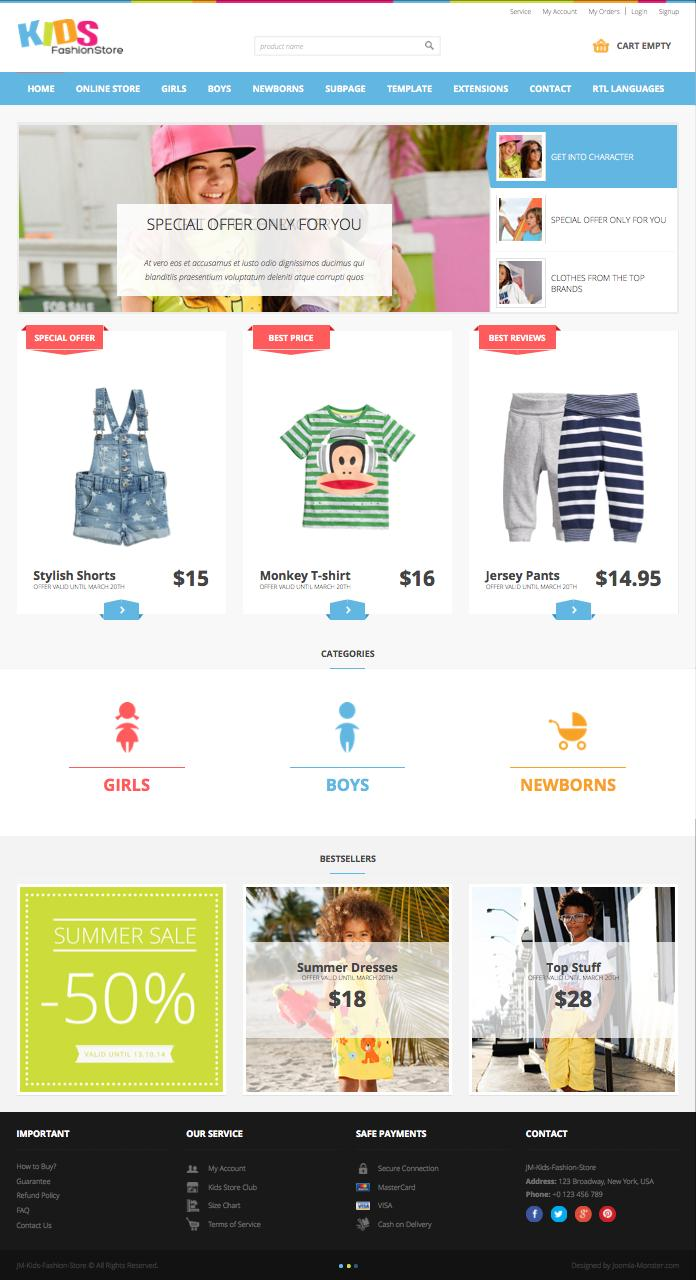 JM Kids Fashion Store Joomla VirtueMart Template